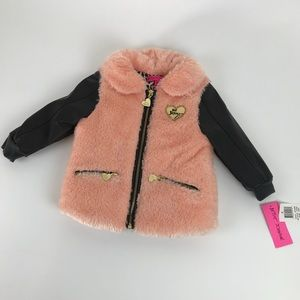 🎀Betsey Johnson🎀 12/18 month furry coat peach